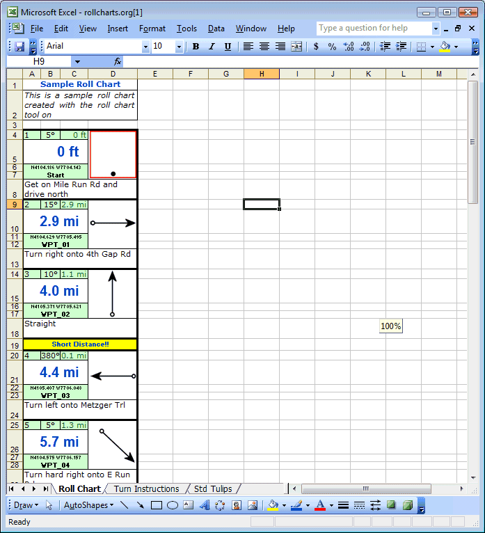 MS-Excel Roll Chart Example
